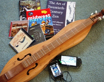 dulcimer, travel books, music