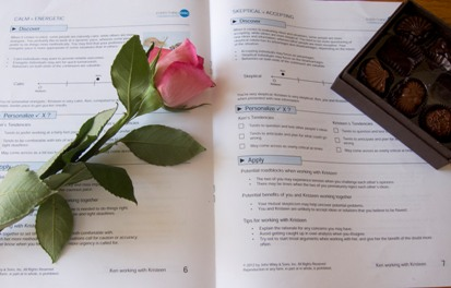 DiSC Comparison Report with a rose and chocolates