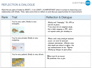 Reflection page from Everything DiSC Comparison Report