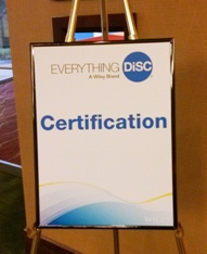 Sign outside the training room for Everything DiSC Certification