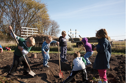 kids engaged in digging
