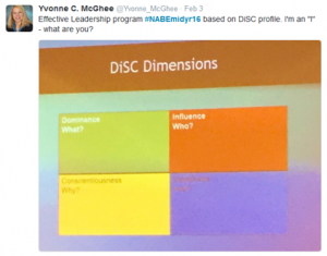 Tweet of DiSC slide