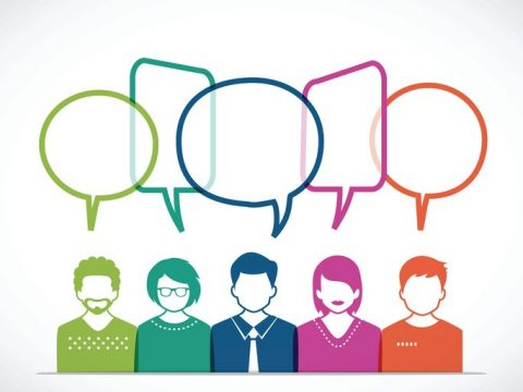 People and Talking with Colored Speech Bubbles