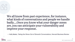 Holly Weeks quote: We all know from past experience, for instance, what kinds of conversations and people we handle badly. ... Once you know what your danger zones are, you can anticipate your vulnerability and improve your response.