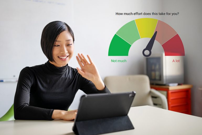 Person on a video meeting, with the effort meter graphic from an Everything DiSC Agile EQ profile