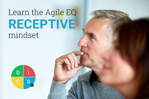 Person listening to someone off-camera with the text: Learn the Agile EQ Receptive mindset