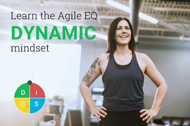 Trainer in a gym with her hands on her hips, with the text Learn the Agile EQ Dynamic mindset