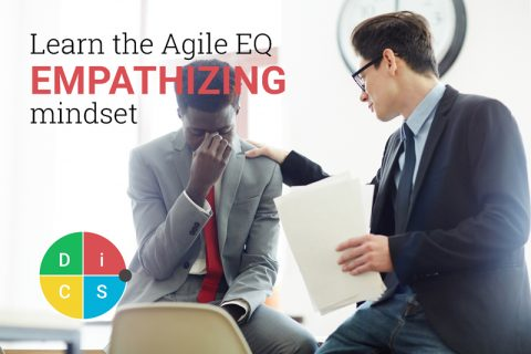 A person comforts a coworker who has his head in his hands; text reads Learn the Agile EQ Empathizing mindset