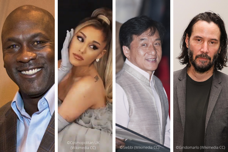 Photo collage: Michael Jordan, Ariana Grande, Jackie Chan, and Keanu Reeves