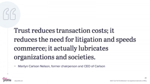 "Quote: ""Trust reduces transaction costs; it reduces the need for litigation and speeds commerce; it actually lubricates organizations and societies."""