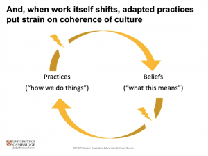 Jennifer Howard-Grenville's cycle of practices and beliefs, showing breaks in the cycle.