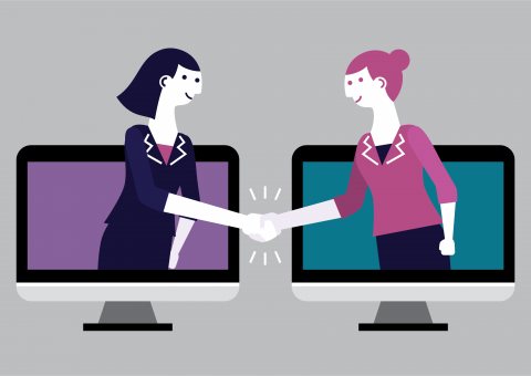 Virtual employee appreciaton: Illustration of two women reaching out of computer screens to shake hands